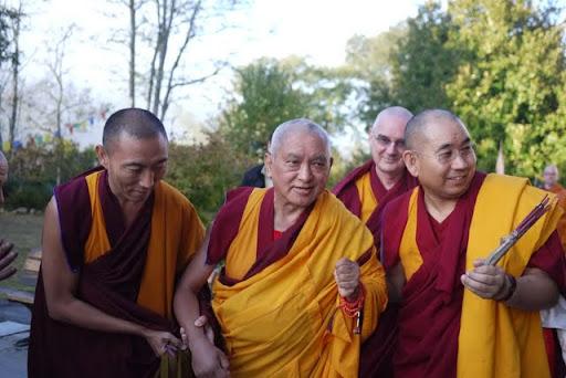 Lama Zopa Rinpoche with Geshe Lobsang Jamphel and Ven. Roger Kunsang, Nalanda Monastery, France, October 2011. Photo by Ven. Thubten Kunsang.