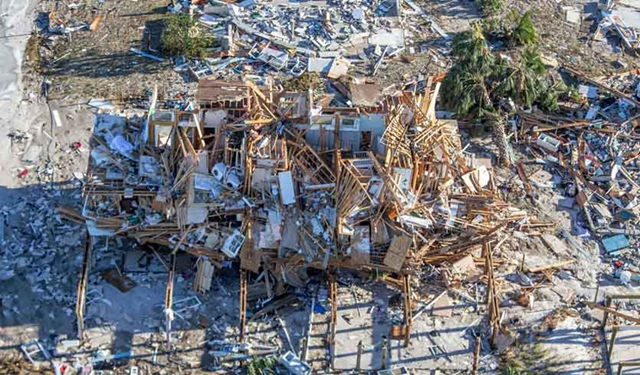Aerial view of homes and businesses along US 98 destroyed by Hurricane Michael on 12 October 2018 in Mexico Beach, Florida. Photo: Mark Wallheiser / Getty Images
