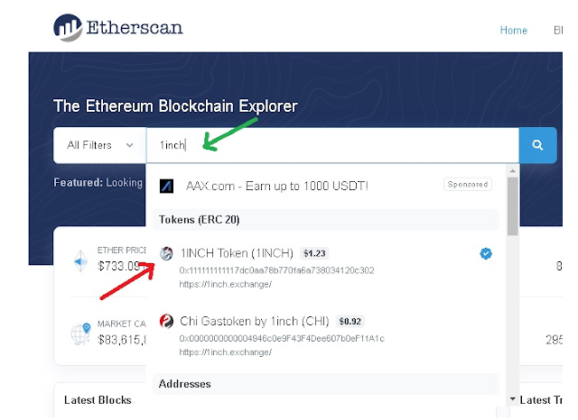 Search Token 1INCH Di Etherscan