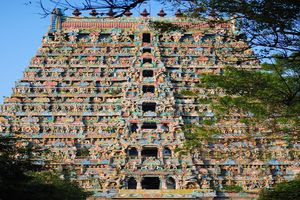 Mayiladuthurai Temple Majestic Main Gopuram Close-up View