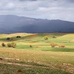 В горах выпадает больше осадков чем в пустынной долине, поэтому склоны зеленеют лугами.
