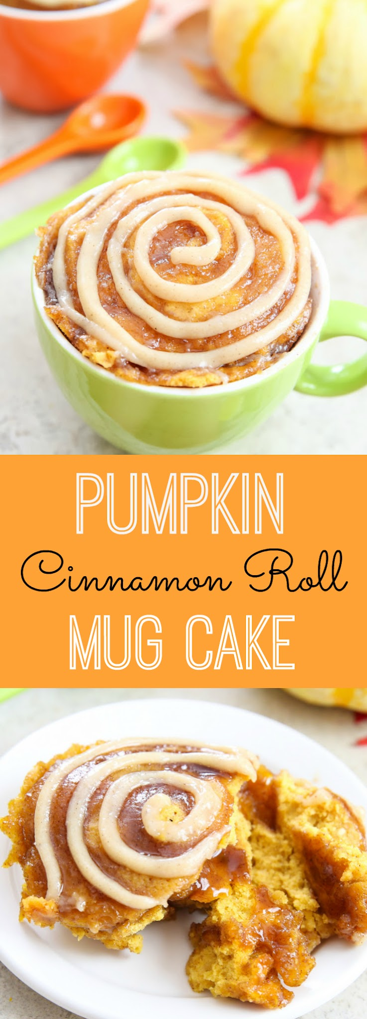 photo collage of Pumpkin Cinnamon Roll Mug Cake
