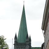 De achterkant van de Nidaros-kathedraal in Trondheim