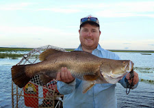 This Barra has a darker colour due to the shallow flood plain water they are in during the run off