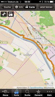 Navigation per Elberadweg-App