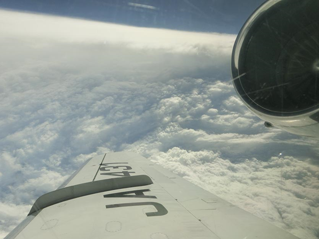 Super Typhoon Lan as seen by the T-PARCII G-II research aircraft on Saturday afternoon, 21 October 2017. Image credit: Kosuke Ito and the Tropical cyclones-Pacific Asian Research Campaign for Improvement of Intensity estimations/forecasts (T-PARCII) program. Photo: Kosuke Ito
