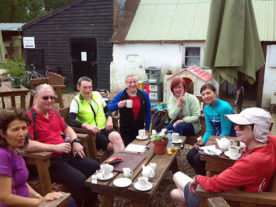 7 cyclists at picnic table drinking tea