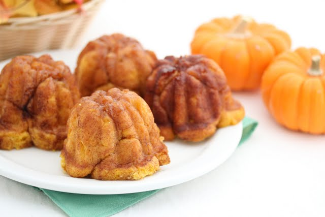 photo of a plate of Pumpkin Cinnamon Monkey Bread with Rum Glaze