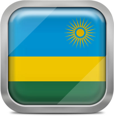 Rwanda square flag with metallic frame