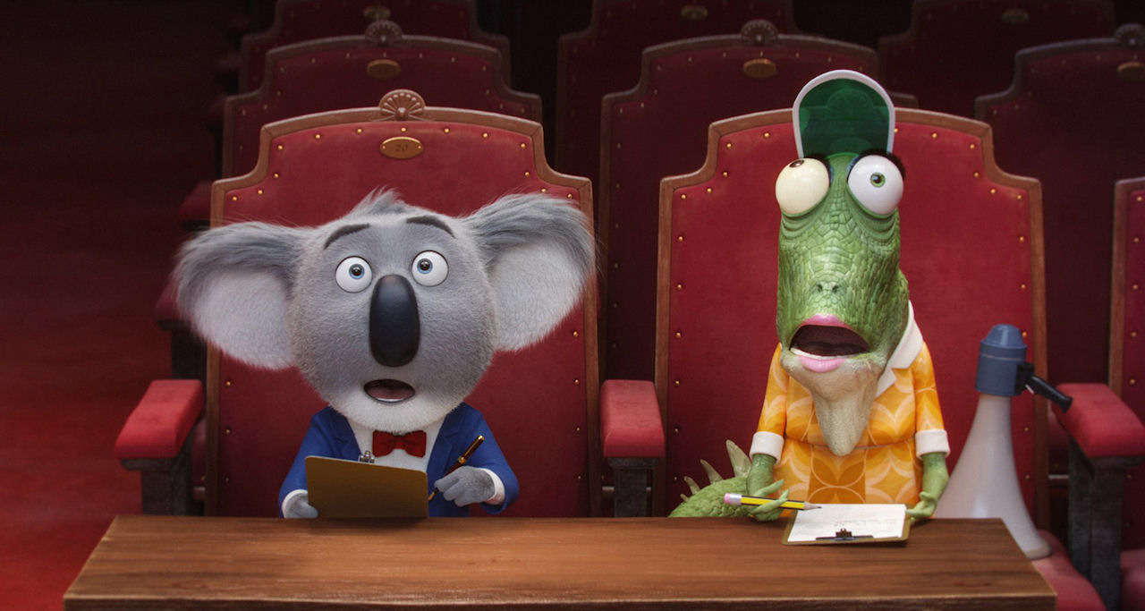 Koala Buster Moon (voiced by Matthew McConaughey) and Miss Crawly (voiced by Garth Jennings) in SING. (Photo courtesy of Illumination Entertainment and Universal Pictures).