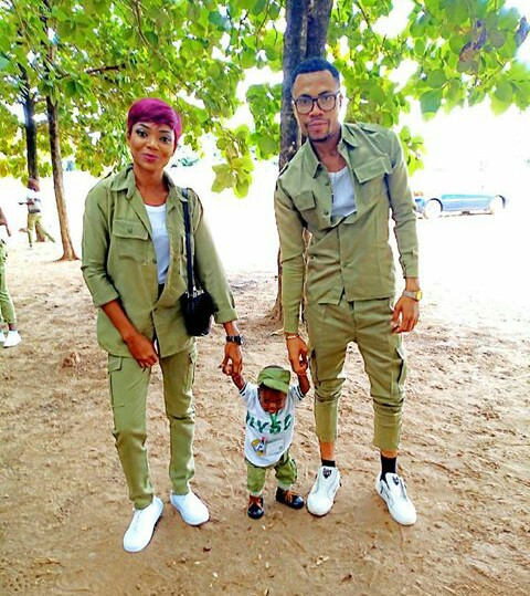 [photos ]NYSC Couple With Their Little Son In NYSC Outfit