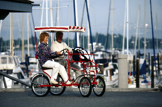 Enjoy a summer afternoon in Blaine peddling a unique surrey bike. Credit: Bellingham Whatcom County Tourism