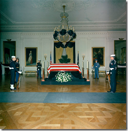 Kennedy coffin in the White House