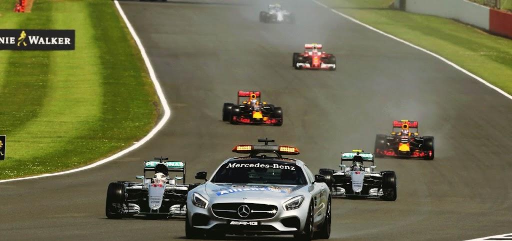 Salida detrás del safety car en el Gran Premio de Gran Bretaña 2016, Silverstone