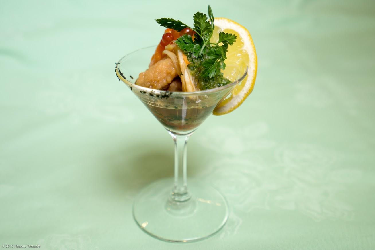 先付け:魚介の南蛮漬け、天いくら、胡瓜みぞれがけ、パセリの微塵切り