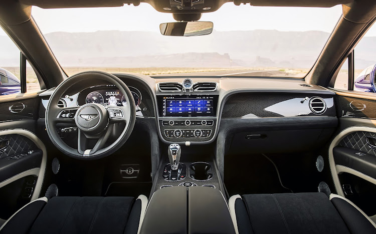 Bentayga pinnacle model has a unique Speed interior with Alcantara trim and exclusive details. Picture: SUPPLIED