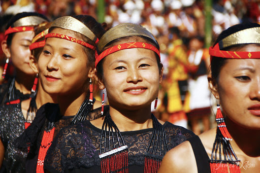 Phom Naga women in traditional dress Hornbill Festival Nagaland