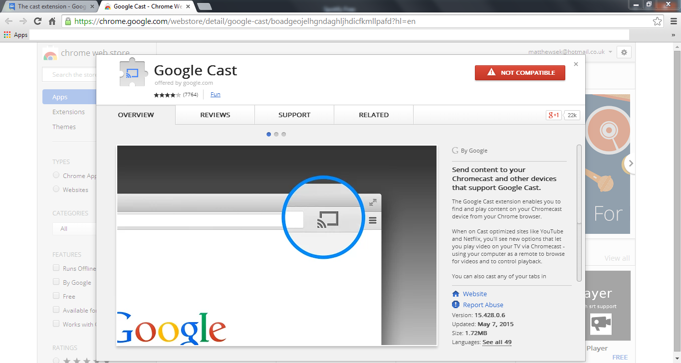 The cast extension - Chromecast Help