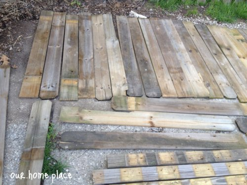 dirty used old fence boards repurposed