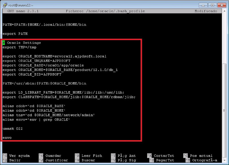 Crear .bash_profile para usuario Oracle