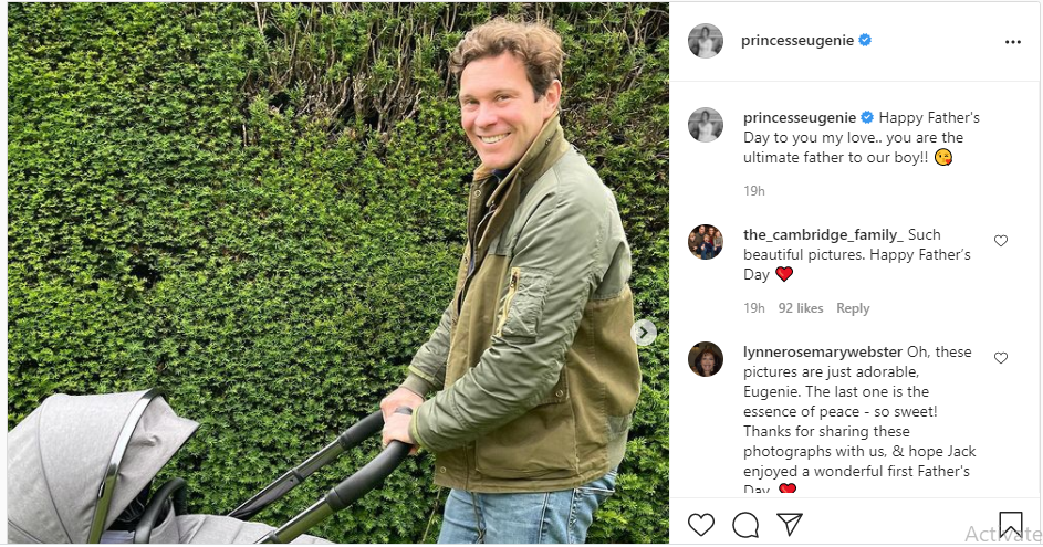 Princess Eugenie shares Gorgeous Photos of Baby August and Husband Jack Brooksbank on Father's Day