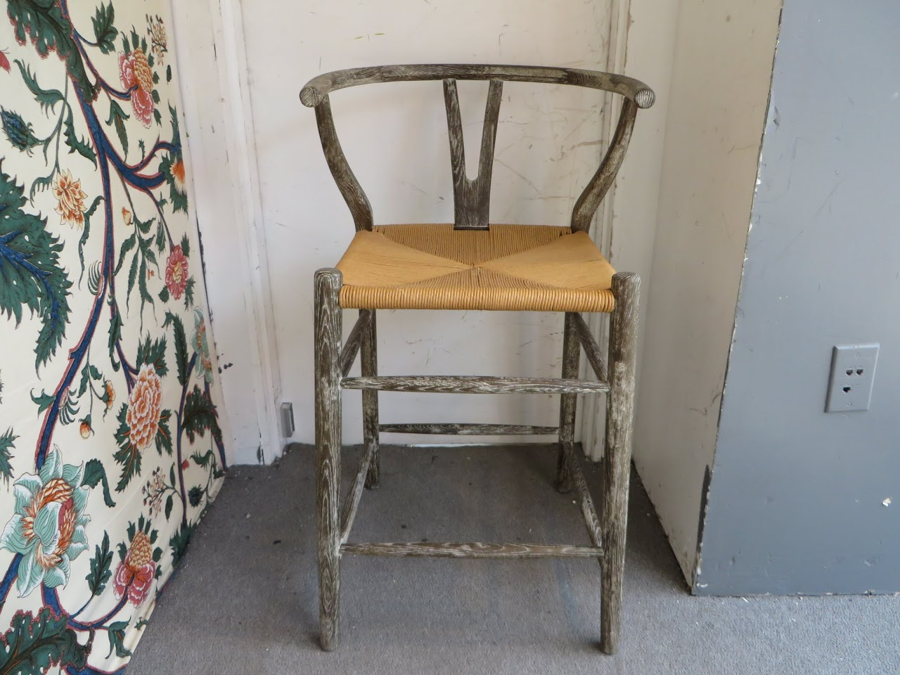 Wooden Stool with Jute Seat