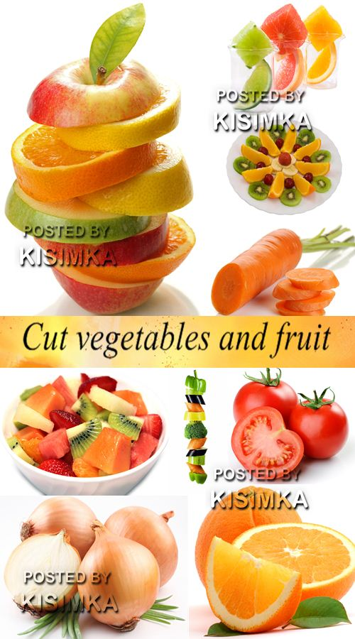 Stock Photo: Cut vegetables and fruit