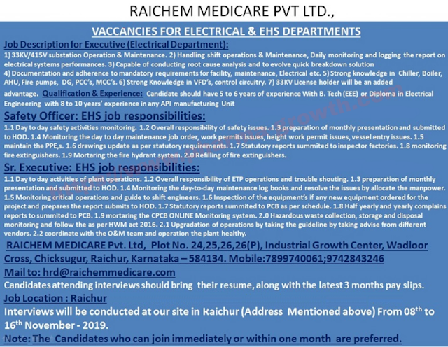 Raichem Medicare Pvt Ltd – Walk in interview for Safety Officer – EHS on 8th to 16th November 2019