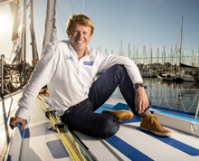 JP relaxing on deck of Virbac-Paprec 3- getting ready to race Vendee Globe