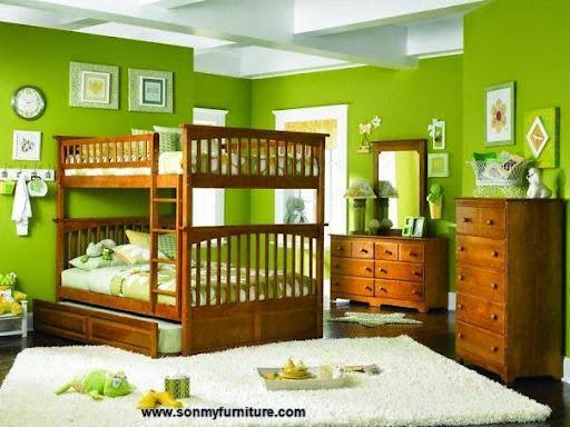 Thiết kế nội thất phòng ngủ với gam màu xanh tươi mát_CONG TY NOI THAT-7