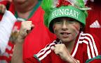 Magyar szurkoló a lelátón a 2016-os franciaországi labdarúgó Európa-bajnokság Magyarország-Ausztria mérkőzésén, Bordeaux, 2016. június 14-én. (MTI/EPA/Rungrodzs Jongrit)