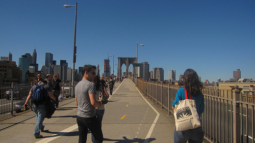 After Grimaldi's the Pizza posse and I trekked over the Brooklyn Bridge and headed to Manhattan! I've lived near New York my entire life and I never walked on this bridge. It was such a fun and exhilarating experience. It was a gorgeous September day too.