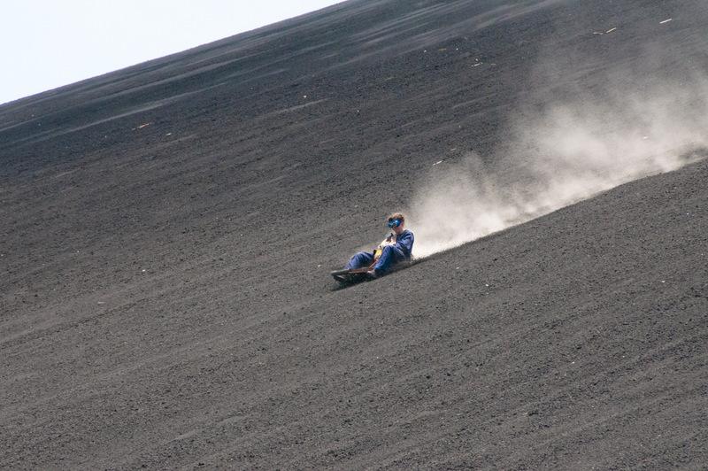 Volcano boarding in Leon, Nicaragua