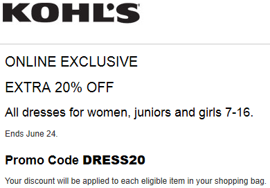 Kohl's Coupon save 20% Off Dresses for Women, junior, and girl