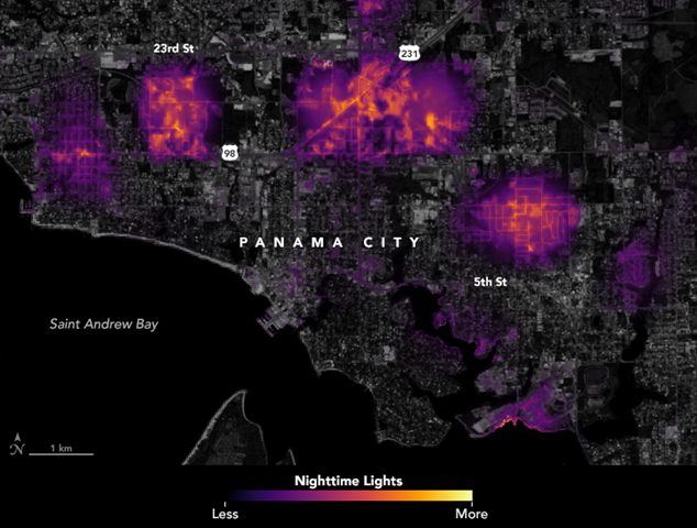 Data visualization of where lights went out in Panama City, Florida after Hurricane Michael struck. A team of scientists from NASA's Goddard Space Flight Center processed and corrected the raw data to filter out stray light from the Moon, fires, airglow, and any other sources that are not electric lights. Their processing techniques also removed other atmospheric interference, such as dust, haze, and thin clouds. The image shows conditions on 12 October 2018. Graphic: Joshua Stevens / NASA Earth Observatory