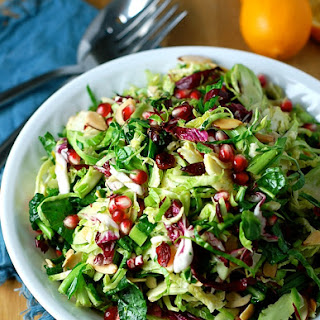 Shredded Brussels Sprouts with Meyer Lemon and Pomegrante.
