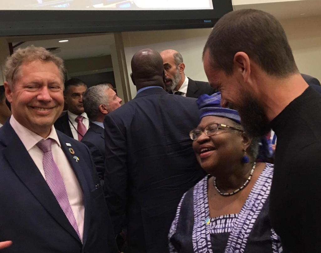 Ngozi Okonjo-Iweala with Jack Dorsey at UNGA 2019