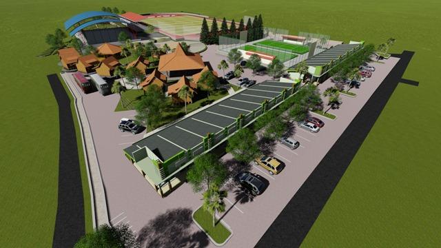 Caturharjo Sport Center Tampak Samping Kiri