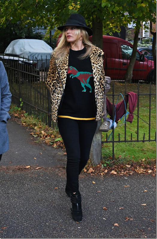 Kate Moss is seen walking in North London on October 11, 2016 in London, England.