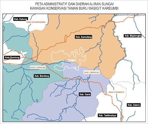 Peta Administratif dan Daerah Aliran Sungai Kawasan Konservasi Taman Buru Masigit Kareumbi