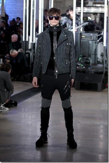 NEW YORK, NY - FEBRUARY 13:  A model walks the runway wearing look # 31 for the Philipp Plein Fall/Winter 2017/2018 Women's And Men's Fashion Show at The New York Public Library on February 13, 2017 in New York City.  (Photo by Thomas Concordia/Getty Images for Philipp Plein)