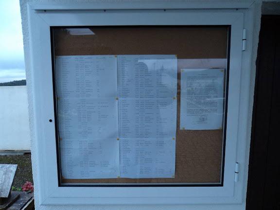 Quadro de informações no cemitério do Monte Frio no Sábado, 10 de Dezembro de 2011