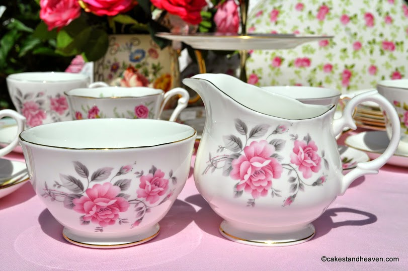 Duchess vintage pale pink rose milk jug and sugar bowl
