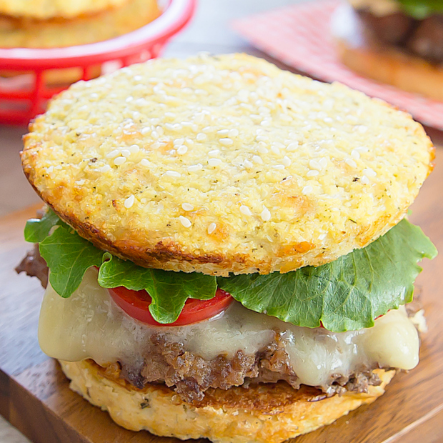 a cheeseburger with cauliflower bread buns