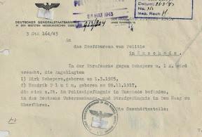 Overplaatsingsverzoek uit 1943 aan de Politie in Enschede om de gevangenen Dirk Schepers en Hendrik Pluim over te brengen naar de strafgevangenis in Den Haag (Oranjehotel).