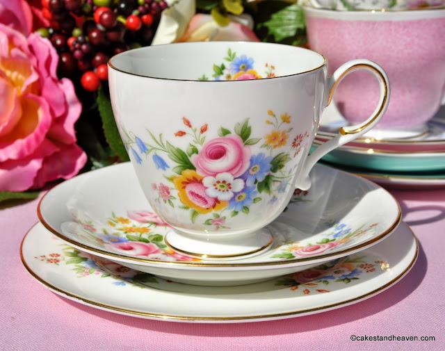 colourful floral Paragon fine bone china teacup trio