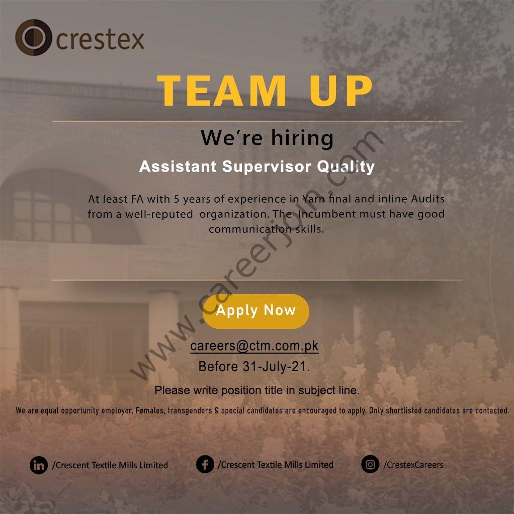 Crescent Textile Mills Ltd Jobs Assistant Supervisor Quality