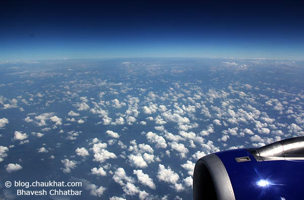 One of the most heart-stoppingly beautiful views I have ever seen - our blue planet seen from a blue aircraft