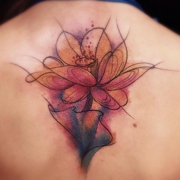 este_cativante_aquarela_flor_da_tatuagem