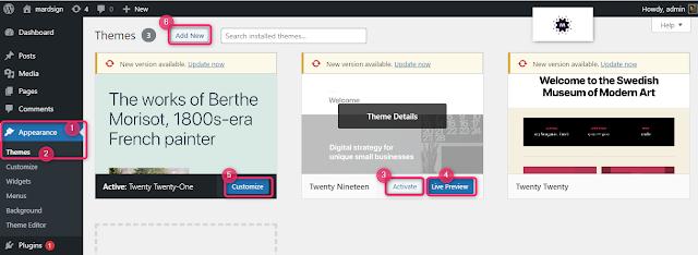 صورة توضح كيفية تغيير قالب الموقع على الووردبريس